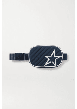 Perfect Moment - Star Canvas-trimmed Embroidered Quilted Shell Belt Bag - Midnight blue