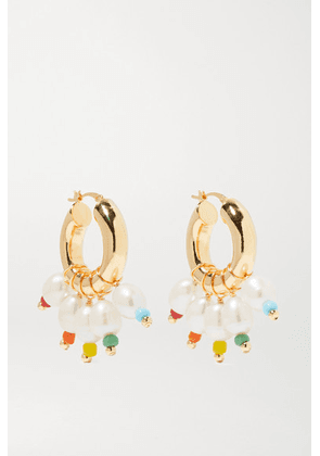 éliou - Gold-tone, Bead And Pearl Hoop Earrings - one size