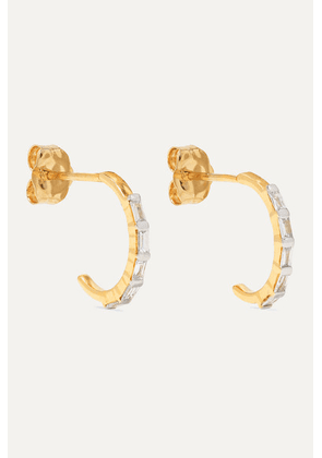 STONE AND STRAND - Gold Diamond Hoop Earrings - one size