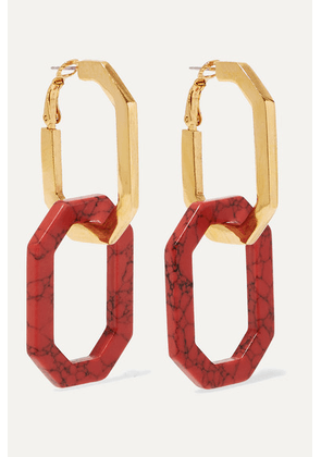 Oscar de la Renta - Convertible Gold-tone And Carnelian Earrings - one size