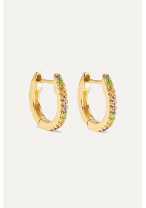 STONE AND STRAND - Gold Sapphire Hoop Earrings - one size