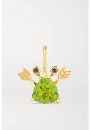 Yvonne Léon - 18-karat Gold, Peridot And Blackened Diamond Earring - one size