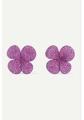 G by Glenn Spiro - Clover Leaf Titanium And 18-karat White Gold, Sapphire And Diamond Earrings - Pink