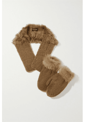 Yves Salomon - Shearling Mittens And Scarf Set - Light brown