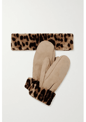 Yves Salomon - Leopard-print Shearling Mittens And Headband Set - Leopard print