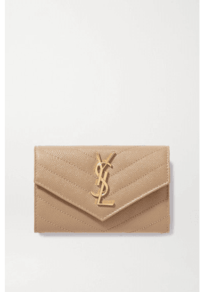 SAINT LAURENT - Monogramme Small Quilted Textured-leather Wallet - Beige