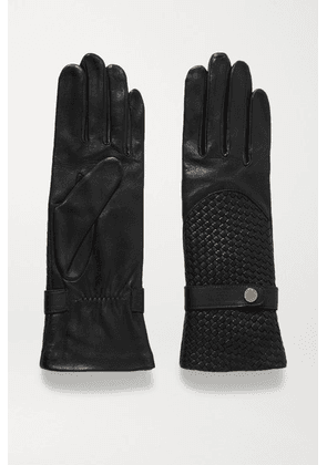 Agnelle - Woven Leather Gloves - Black