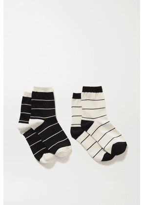 LESET - Kelly Set Of Two Striped Stretch-knit Socks - Black