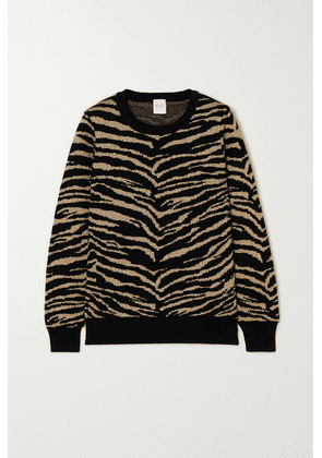 Madeleine Thompson - Juno Metallic Tiger-intarsia Wool And Cashmere-blend Sweater - Black