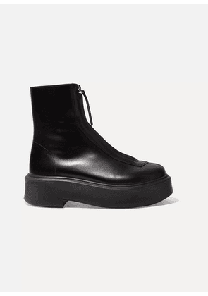 The Row - Leather Ankle Boots - Black