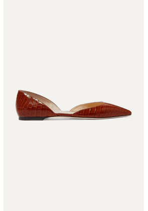 Jimmy Choo - Esther Croc-effect Leather Ballet Flats - Brown
