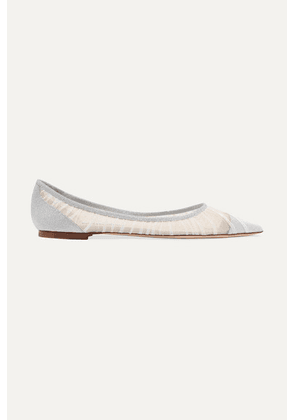 Jimmy Choo - Love Glittered Tulle And Canvas Point-toe Flats - Ivory