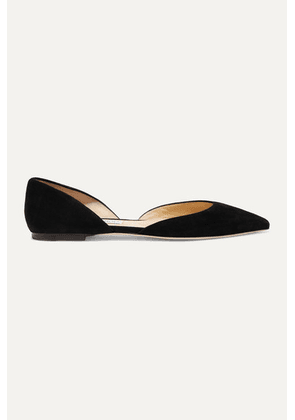 Jimmy Choo - Esther Suede Point-toe Flats - Black