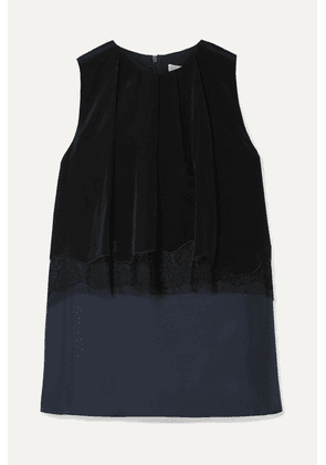 Tibi - Layered Lace-trimmed Satin-twill And Crepe De Chine Top - Midnight blue