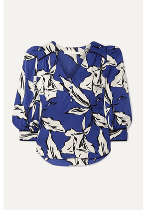 Veronica Beard - Milan Printed Silk-satin Jacquard Blouse - Blue