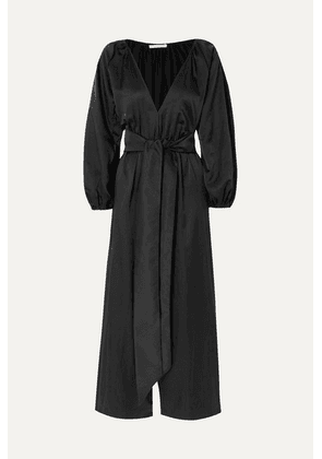 Kalita - Venus Belted Silk And Cotton-blend Habotai Jumpsuit - Midnight blue