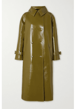 Frankie Shop - Double-breasted Glossed Faux Textured-leather Trench Coat - Green