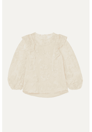 Chloé - Ruffled Embroidered Tulle Blouse - Ivory