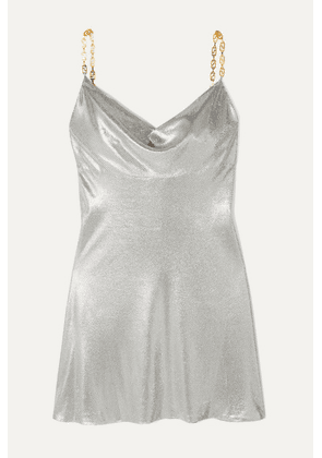 Versace - Embellished Satin Mini Dress - Silver