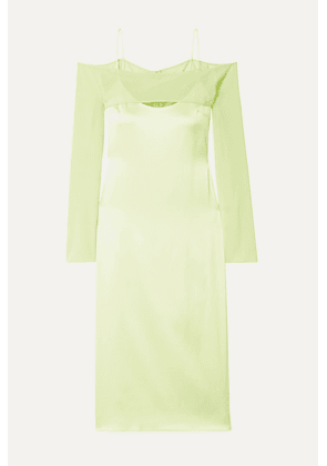 Cushnie - Cold-shoulder Silk-blend Chiffon-trimmed Satin-crepe Midi Dress - Chartreuse