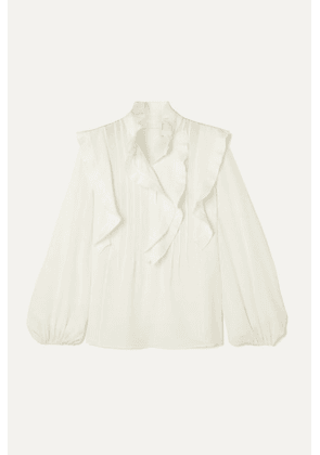 Chloé - Ruffled Pintucked Silk Crepe De Chine Blouse - Ivory