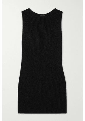 SAINT LAURENT - Metallic Ribbed-knit Mini Dress - Black