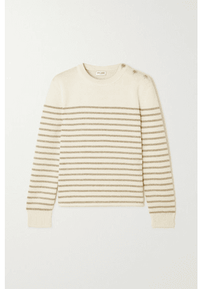 SAINT LAURENT - Button-detailed Metallic Striped Knitted Sweater - Ivory