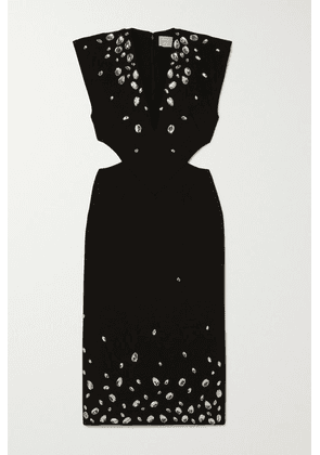 Christopher Kane - Crystal-embellished Cutout Cady Midi Dress - Black