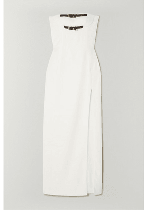 Versace - Strapless Embellished Buckled Silk-cady Gown - White