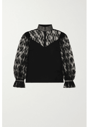Christopher Kane - Crystal-embellished Satin And Lace Blouse - Black