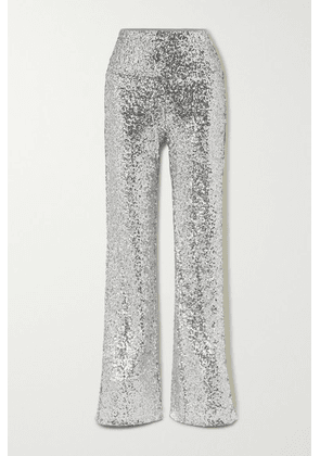 Norma Kamali - Sequined Jersey Flared Pants - Silver