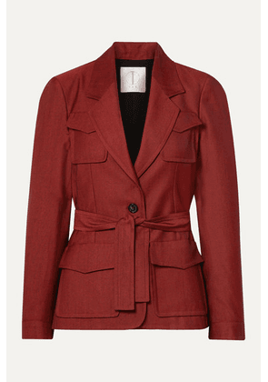 TRE by Natalie Ratabesi - The Nena Belted Wool-twill Blazer - Red