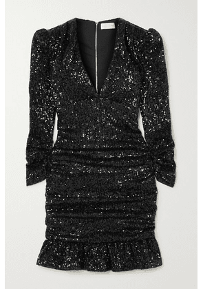 Rebecca Vallance - Mona Ruched Sequined Stretch-knit Mini Dress - Black