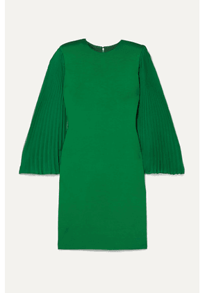 Alice + Olivia - Zaya Plissé-georgette And Jersey Mini Dress - Forest green