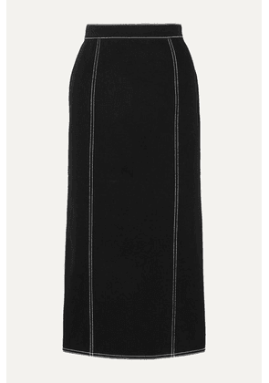 Alexander McQueen - Pleated Denim Midi Skirt - Black