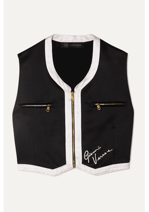 Versace - Cropped Embroidered Satin Vest - Black