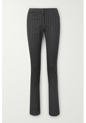 16ARLINGTON - Wallis Pinstriped Woven Slim-leg Pants - Dark gray