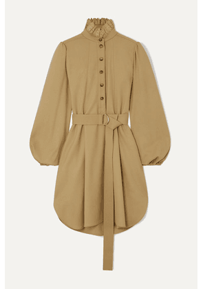 Chloé - Belted Embroidered Stretch-wool Twill Mini Dress - Neutral