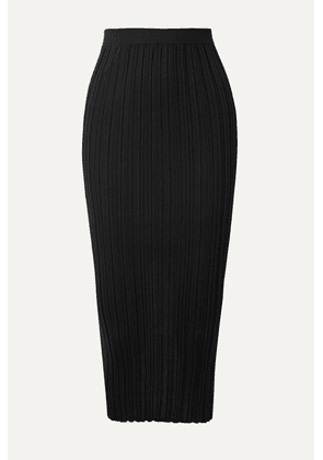 Helmut Lang - Ribbed Merino Wool-blend Midi Skirt - Black