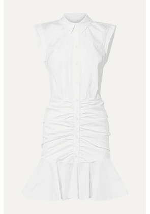 Veronica Beard - Bell Ruched Stretch-cotton Poplin Dress - White