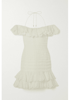 Zimmermann - Super Eight Off-the-shoulder Ruffled Pleated Linen And Silk-blend Mini Dress - Ivory