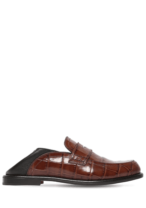 20mm Croc Embossed Leather Penny Loafers