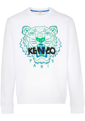 Kenzo tiger logo-embroidered cotton sweatshirt - White