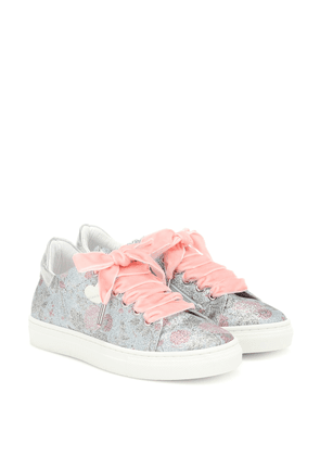 Floral glitter sneakers