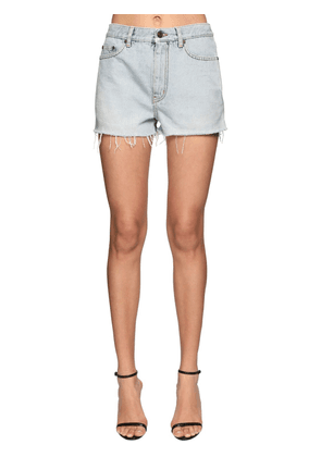 Cotton Denim Shorts W/raw Cut Hem
