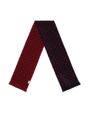 Gucci GG Wool Scarf In Midnight Blue & Red in Midnight Blue & Red - Abstract,Blue,Red. Size all.