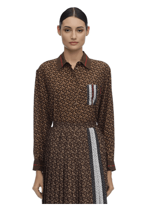All Over Tb Print Mulberry Silk Shirt
