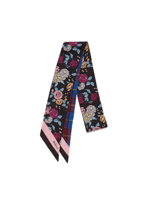 Mulberry Floral and Check Bag Scarf in Porcelain Blue Print