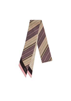 Mulberry Diagonal Check and Logo Bag Scarf in Beige Print