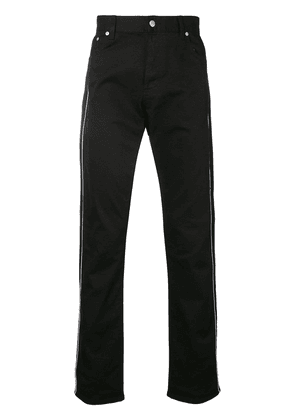 Alexander McQueen side stripe embroidered trousers - Black